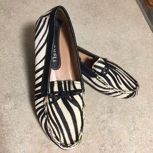 Vaneli Zebra loafers black and white size 6.5B